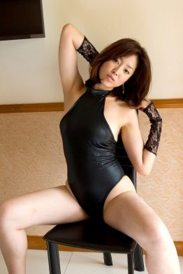 mature asian woman in sexy black lingerie set